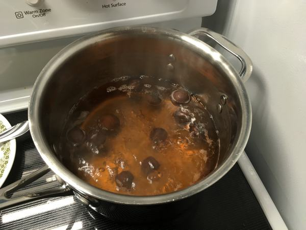 soap nuts boiling in liquid