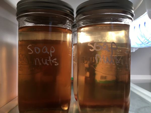 soap nut liquid in glass jars